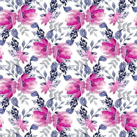 Seamless Watercolor Hand Drawn Floral Pattern Zdjęcie Seryjne - 89861507