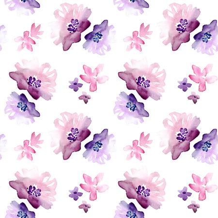 シームレスな水彩手描き花柄