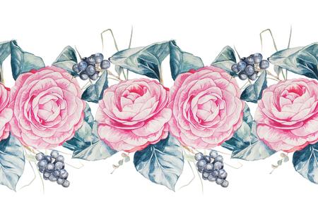 シームレスな水彩画手描き花柄