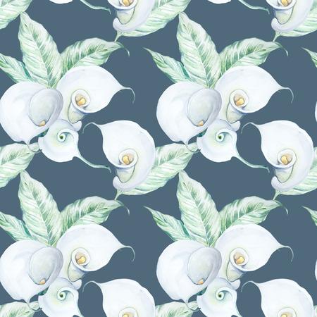 シームレスな手描き水彩のホワイト カラーの花のパターン 写真素材