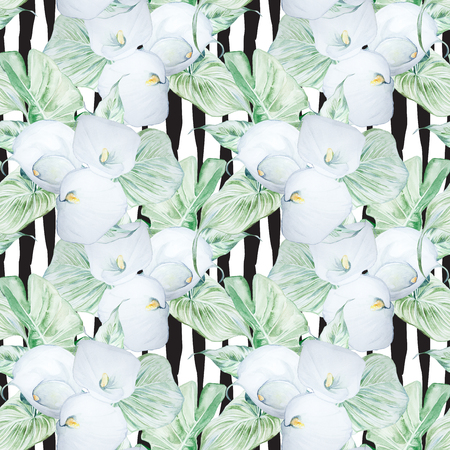Patrón de flores de Calla blanco acuarela dibujado a mano sin costura Foto de archivo - 89783587
