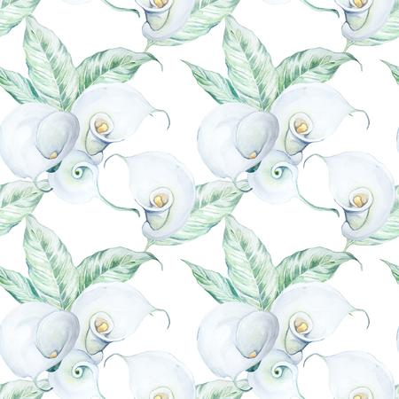 원활한 손으로 그린 수채화 화이트 칼라 꽃 패턴