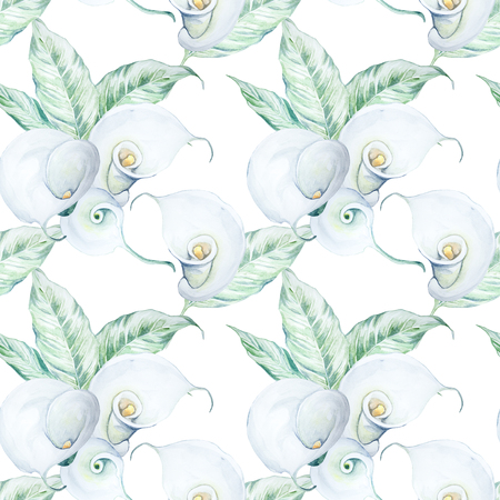 Seamless Hand Drawn Watercolor White Calla Flowers Pattern Stock Photo