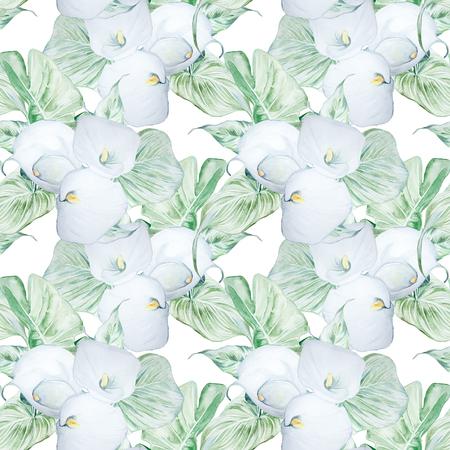 Patrón de flores de Calla blanco acuarela dibujado a mano transparente Foto de archivo - 89813305