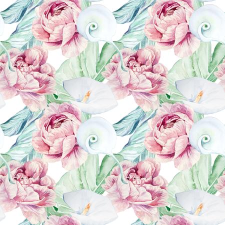 Seamless Hand Drawn Watercolor White Calla Flowers Pattern Zdjęcie Seryjne