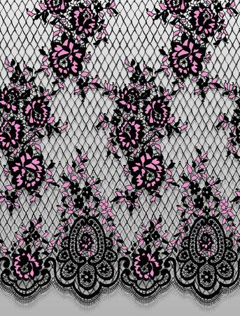 シームレスなベクトルの詳細ピンクと黒のレース パターン  イラスト・ベクター素材
