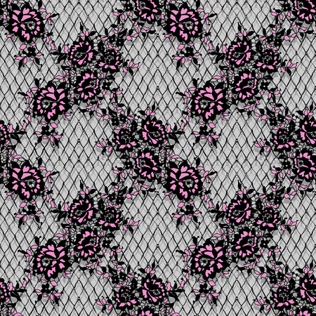 원활한 벡터 상세한 핑크와 블랙 레이스 패턴 일러스트