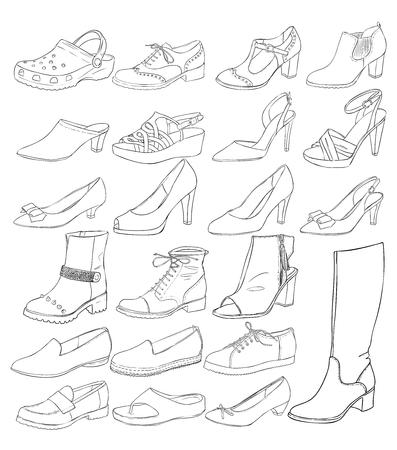 벡터 여성 신발 그림 설정