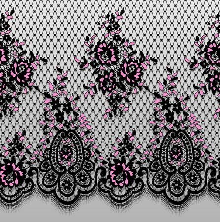 Un vector inconsútil detallado rosa y negro patrón de encaje Foto de archivo - 91028360
