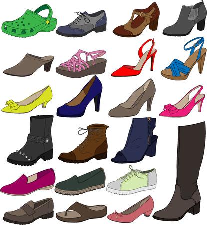 Vector Female Shoes Illustration Set Vettoriali