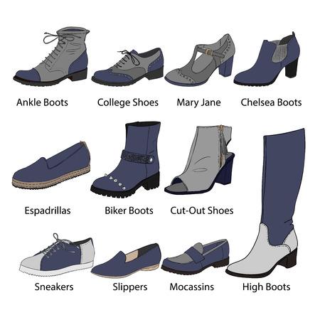 ベクトル女性靴イラスト セット  イラスト・ベクター素材