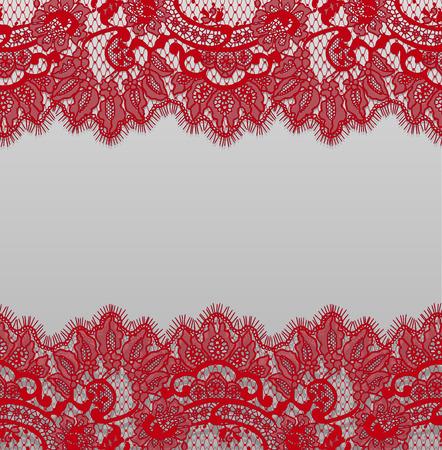 シームレスなベクトル詳細な赤いレース パターン  イラスト・ベクター素材