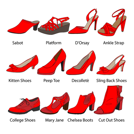 Vector Female Shoes Illustration Set Stock Photo
