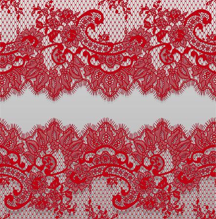 シームレスベクトル詳細レッドレースパターン 写真素材