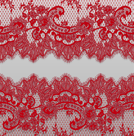 Seamless Vector Detailed Red Lace Pattern Zdjęcie Seryjne - 91279849
