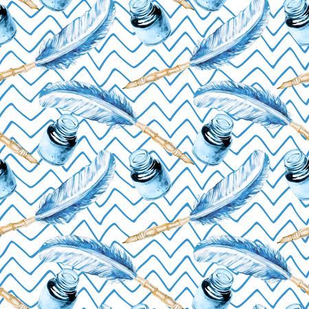 원활한 손으로 그려진 수채화 물감 패턴 봉투 스톡 콘텐츠