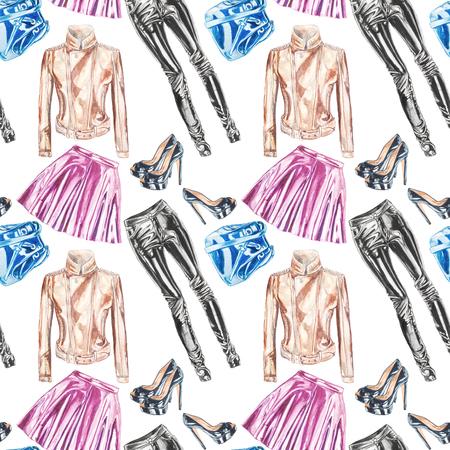 シームレスな手描き水彩ファッションレザーガーメントパターン