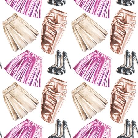 원활한 손으로 그린 수채화 패션 가죽 의류 패턴 스톡 콘텐츠