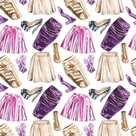 シームレスな水彩画ファッション衣類パターン