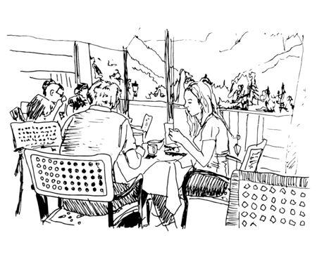 People Sitting In a Cafe Black Ink Vector Illustration