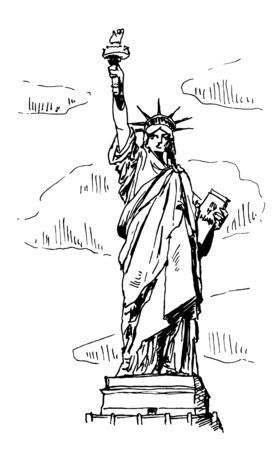 Statue Of Liberty Vector Sketch Illustration