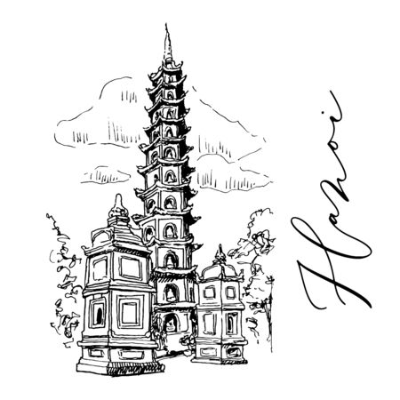 Tran Quoc Pagoda In Hanoi In Vietnam Vector Sketch Illustration