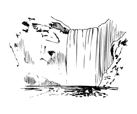 Waterfall In The Mountains Vector Sketch Illustration