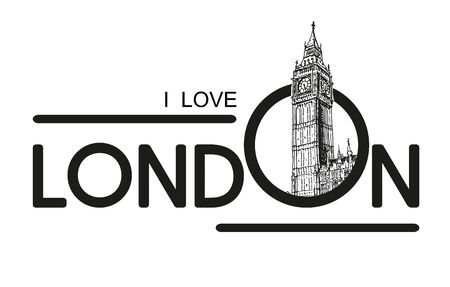 Love London With Big Ben Vector Sketch Illustration