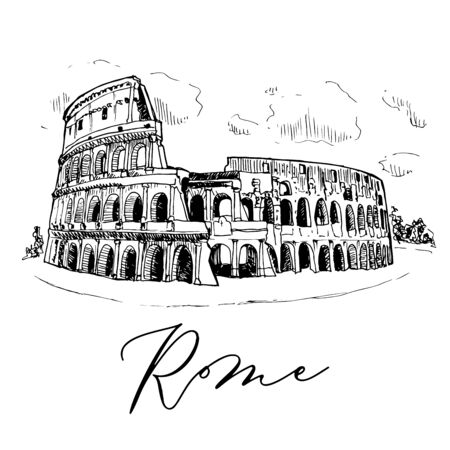 Colosseum Vector Sketch Travel In Italy