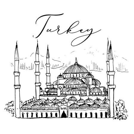 Sultan Ahmed Mosque Blue Mosque in Istanbul Vector Sketch Illustration Zdjęcie Seryjne