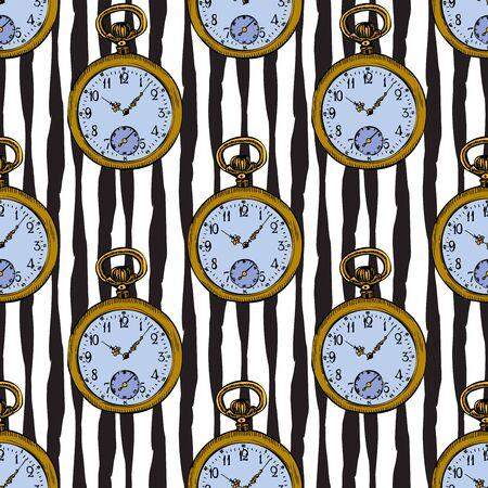 Pocket Vintage Clock vector Sketch Illustration Seamless Pattern