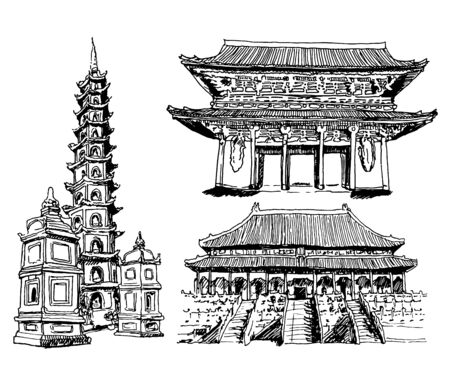 Landmarks Vector Sketch Set Collection Zdjęcie Seryjne
