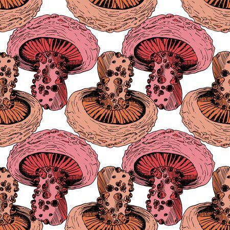Poisonous Mushroom Vector Sketch Seamless Pattern Zdjęcie Seryjne