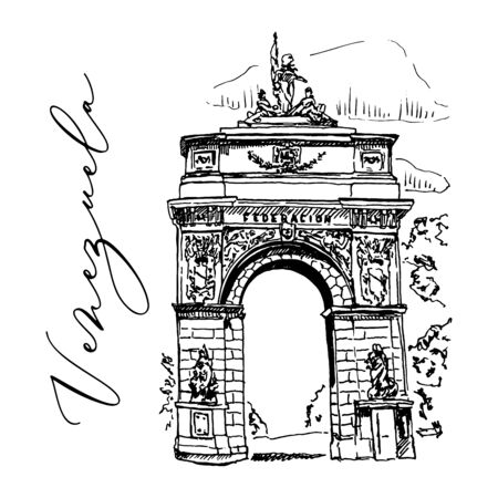 Venezuela Federation Gate Landmark Vector Hand Drawn Sketch Illustration