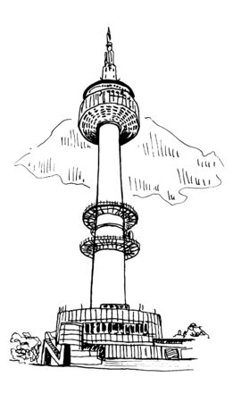 Tower In Seoul Vector Sketch Illustration