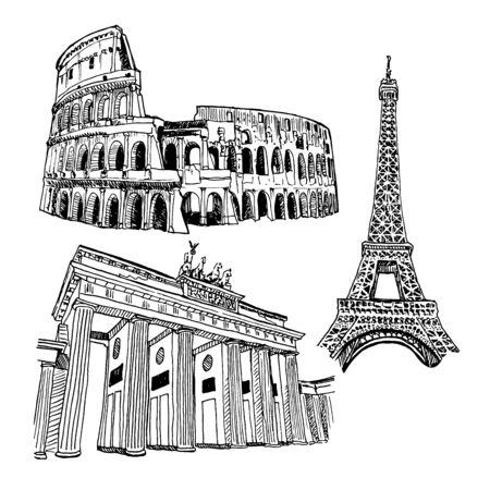 Landmarks Of Capitals Vector Sketch Set