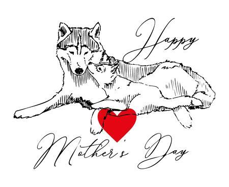 Wolf With Cub Vector Sketch Card Illustration Zdjęcie Seryjne