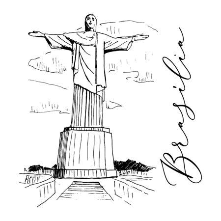 Vector Statue of Jesus Christ in Rio de Janeiro