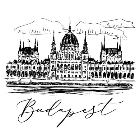 Parlament Palace In Budapest In Hungary Vektorové ilustrace