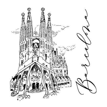Schizzo disegnato a mano della cattedrale di Barcellona di vettore