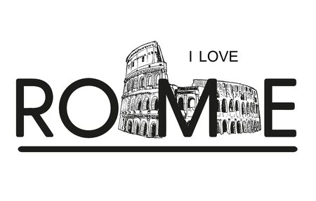 Love Rome With Colosseum Vector Sketch Illustration