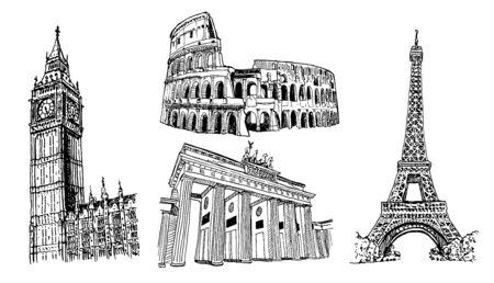 European Landmarks Vector Sketch Illustration Set