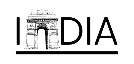 Indian Gate In New Delhi Sketch Calligraphy Illustration