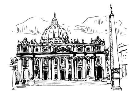 Vatican Cathedral Vector Sketch Illustration
