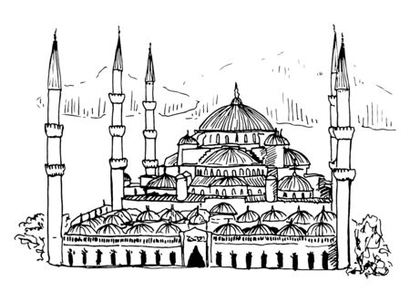Sultan Ahmed Mosque Blue Mosque in Istanbul Vector Sketch Illustration Ilustracja