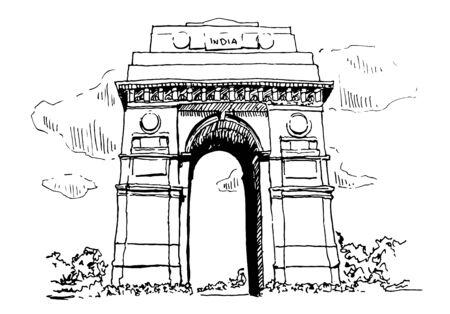 Indian Gate In New Delhi Sketch Illustration