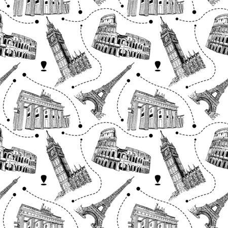 European Landmarks Sketch Vector Seamless Pattern