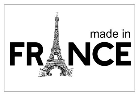 Made in France With Tower Eiffel Logo Vector Sketch