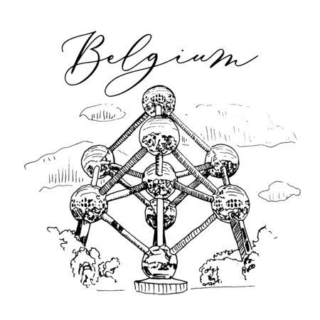 Vactor Hand Drawn Sketch Of Belgium Symbol Ilustracja