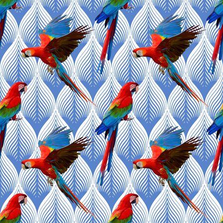 Parrot Ara Vector Seamless Pattern